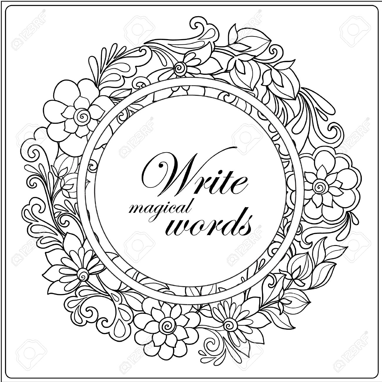 coloring book for adult and older children coloring page with decorative floral frame and space