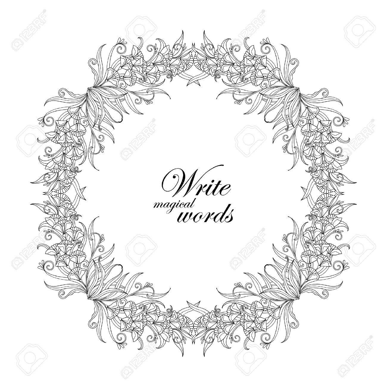 Coloriage Cadre Fleur.Decoratif Cadre De Fleurs Vintages Frontiere Avec L Espace Pour Le