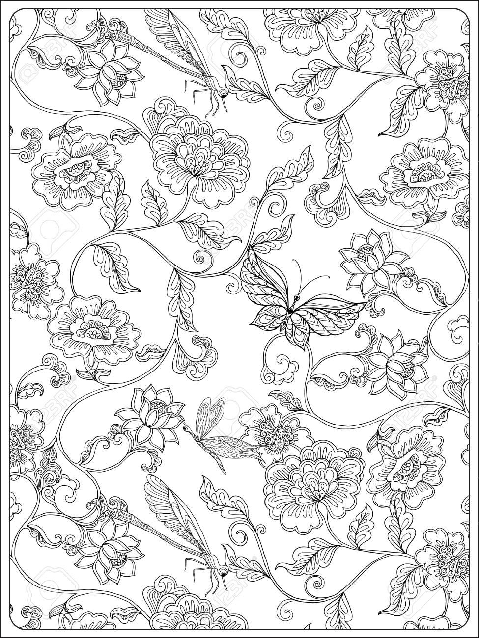 Patron Floral Vintage Dibujo De Esquema Libro De Colorear Para