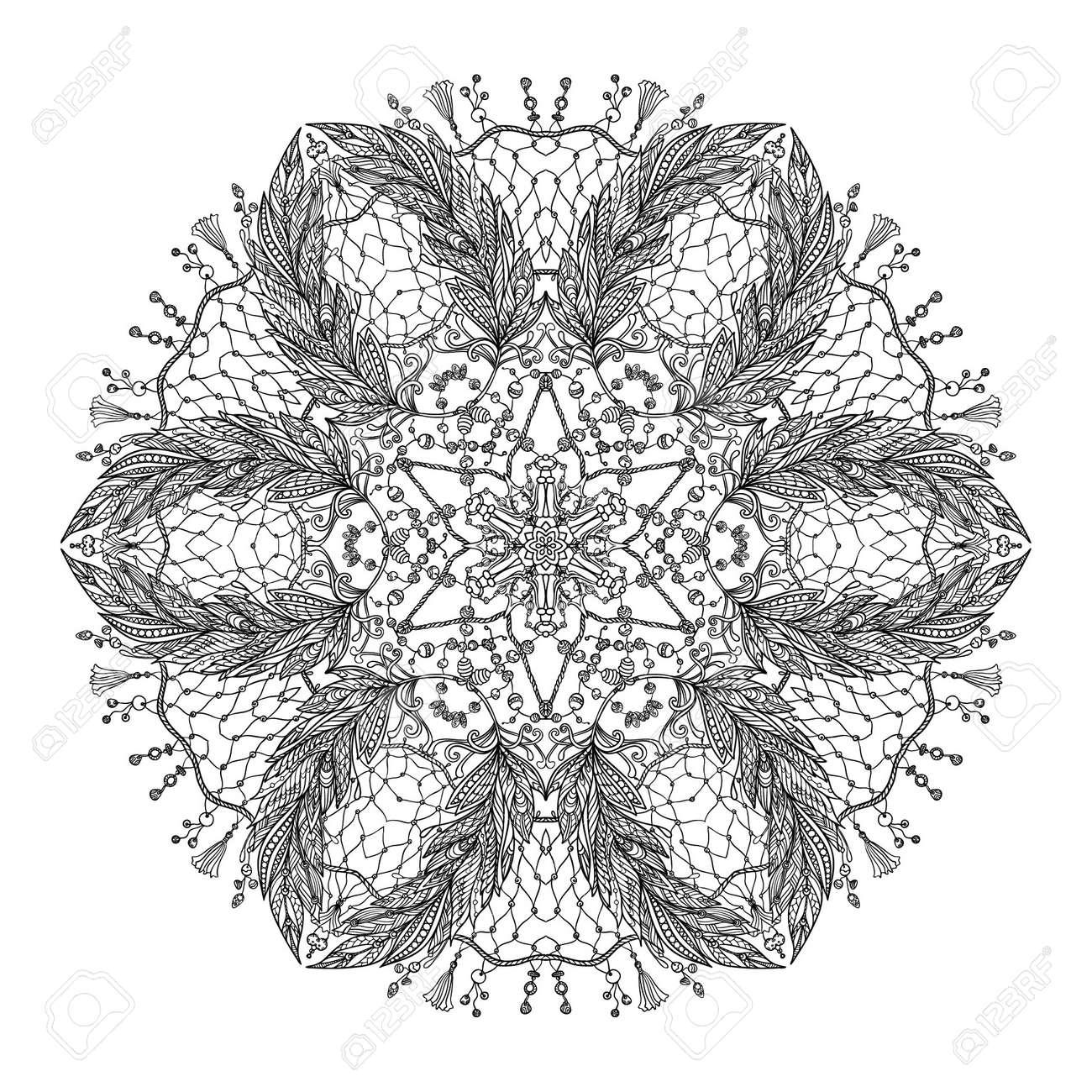 Vettoriale Mandala Di Mare Con Conchiglie Coralli E Pesci Libro