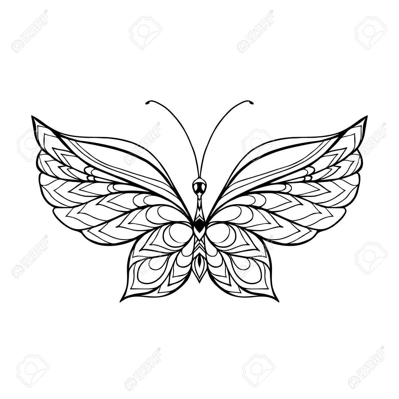 butterfly coloring 57545736 decorative butterfly coloring book for adult and older children coloring page outline drawing vector stock vector - Children Coloring Book