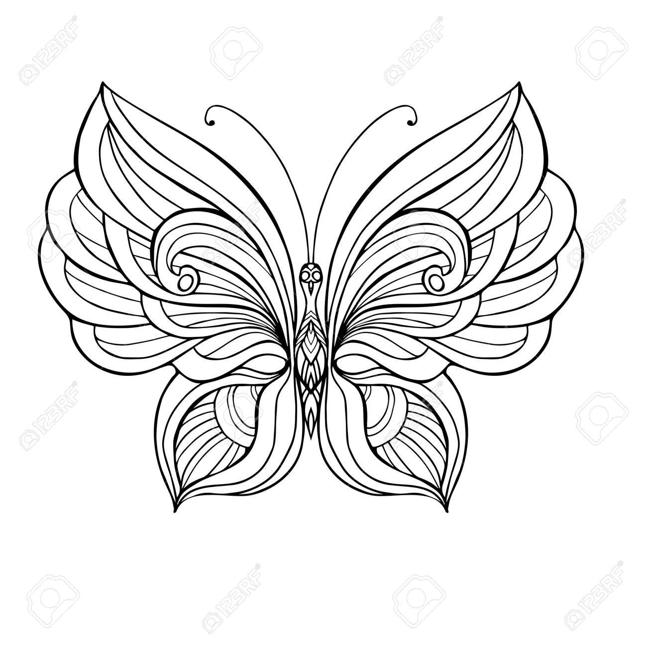 Vettoriale Farfalla Decorativa Libro Da Colorare Per Adulti E