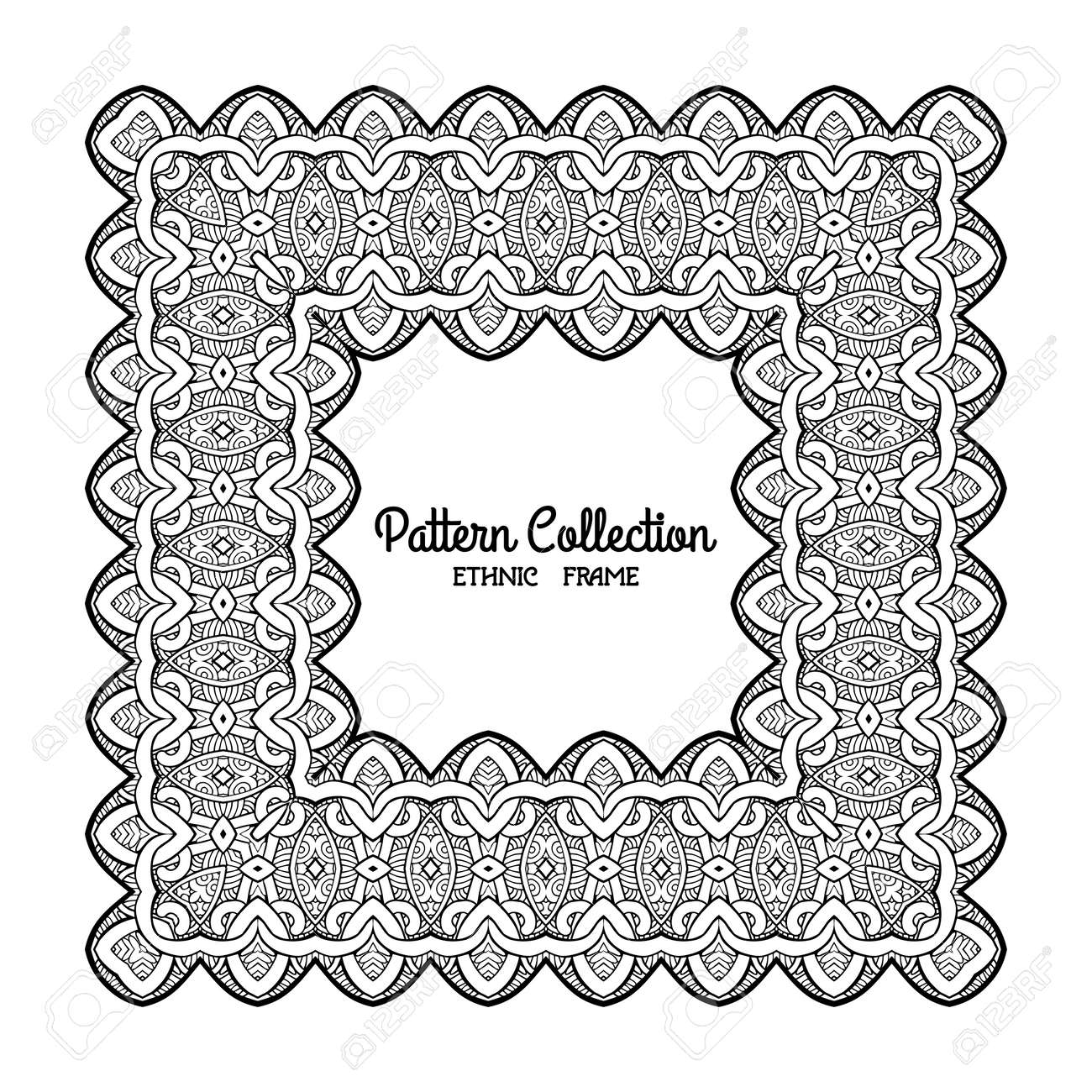 Outline Decorative Frame With Ethnic Tibet Pattern Space For Text Good Coloring Book