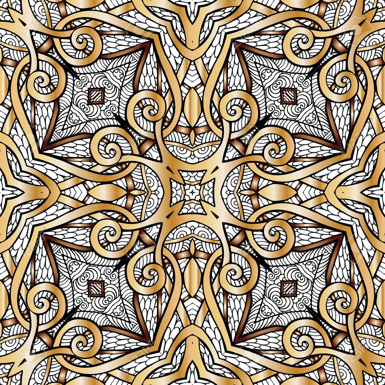 Decorative Seamless Pattern In Gold Color. In Art Deco Style ...