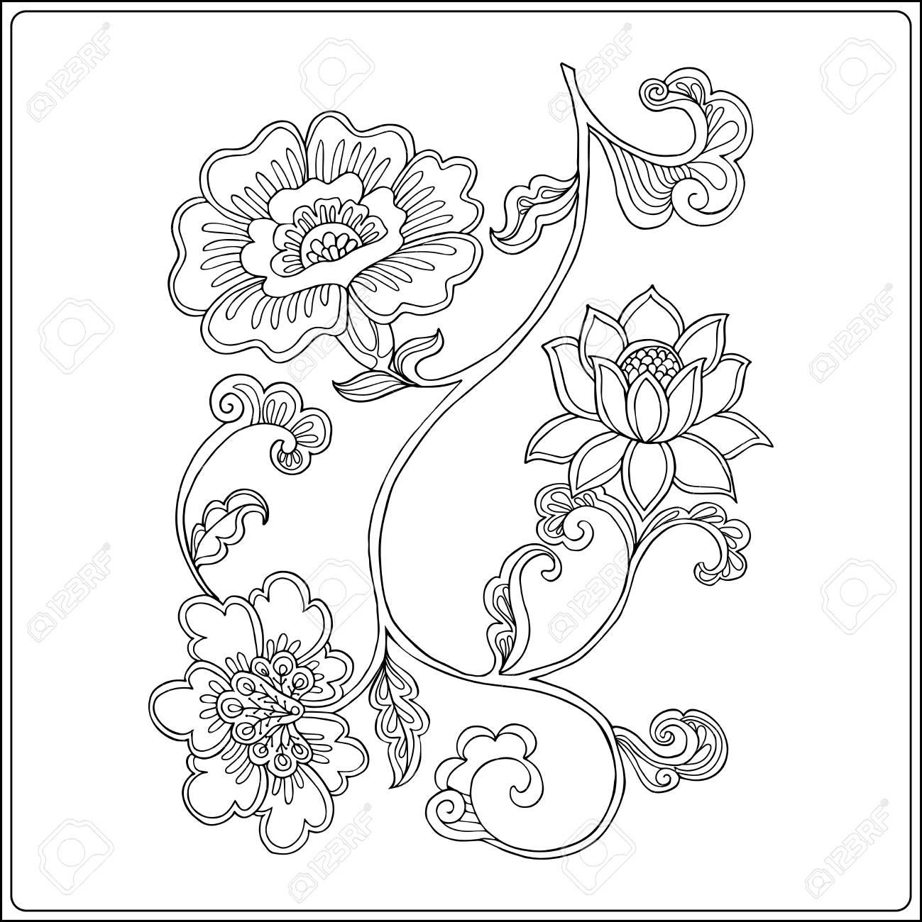 Esquema Rama De Decoración Con Flores En El Estilo Vintage Libro De