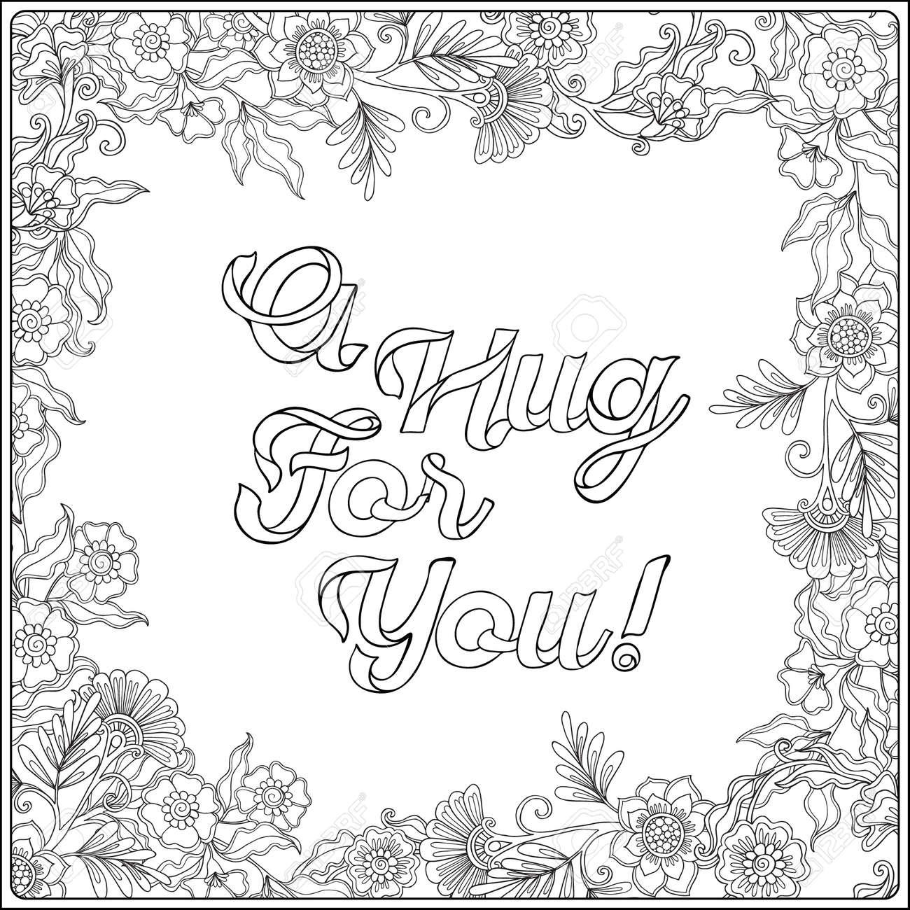 Coloriage Adulte Vintage.Coloriage Avec Message Dans Cadre Decoratif Floral Vintage Adulte