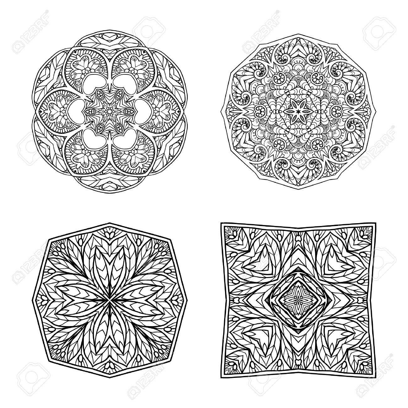 Decorative Mandala Set Vector Illustration Good For Coloring Book Adult And Older Children