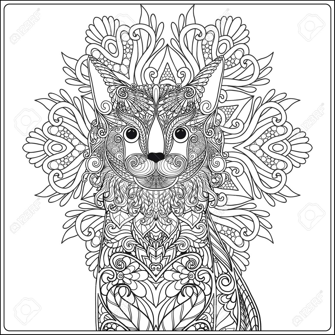 Coloriage Adulte Chat.Chat Decoratif Avec Mandala Illustration Vectorielle Livre De