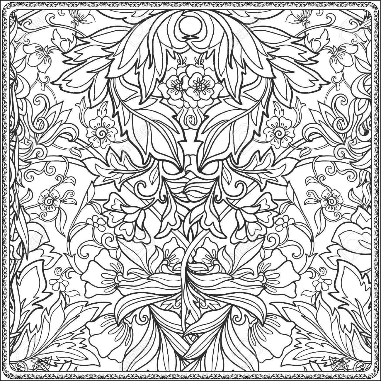 Sin Patrón Floral En Estilo Edad Media. Libro De Colorante Para