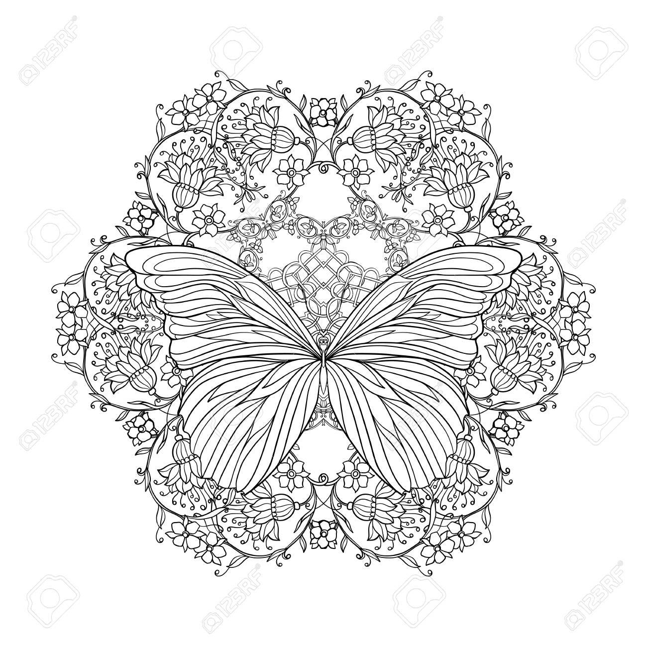 Fiori Mandala.Coloring Book For Adult And Older Children Coloring Page With