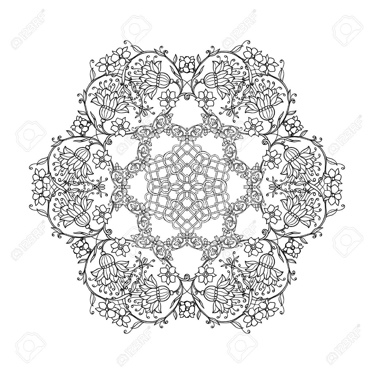 Hermosas Flores Vintage Deco Mandala, Diseño Modelado Del Elemento ...
