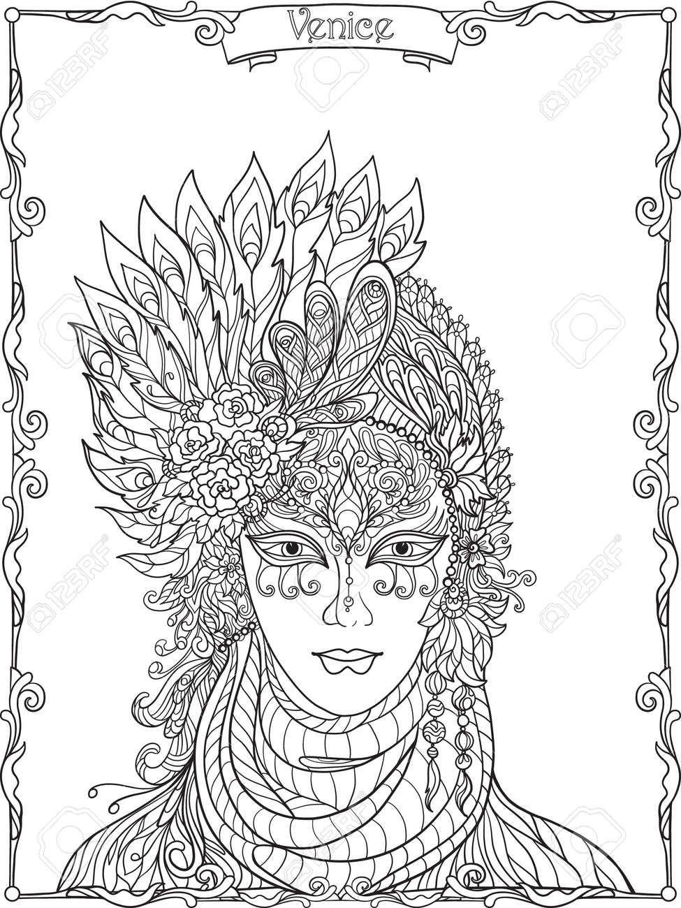 Venetian Mask, Carnival Costume Outline Hand Draw. Coloring ...