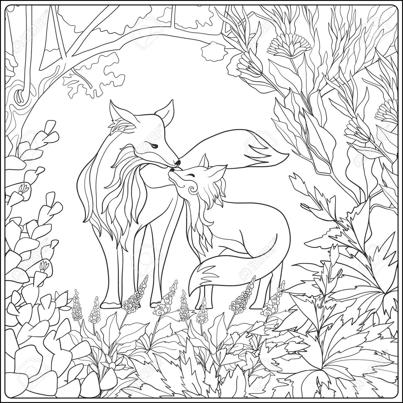 Libro De Colorante Para Los Adultos Y Niños Mayores Dibujo Para Colorear Con El Zorro Encantadora Madre Y Su Pequeño Zorro En El Jardín