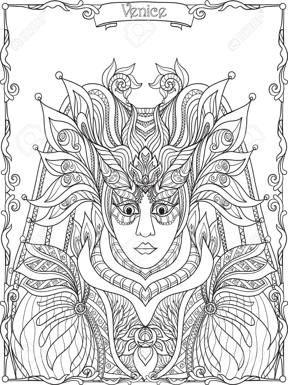 venetian mask carnival costume outline hand draw coloring book for adult and older children - Draw Coloring Book
