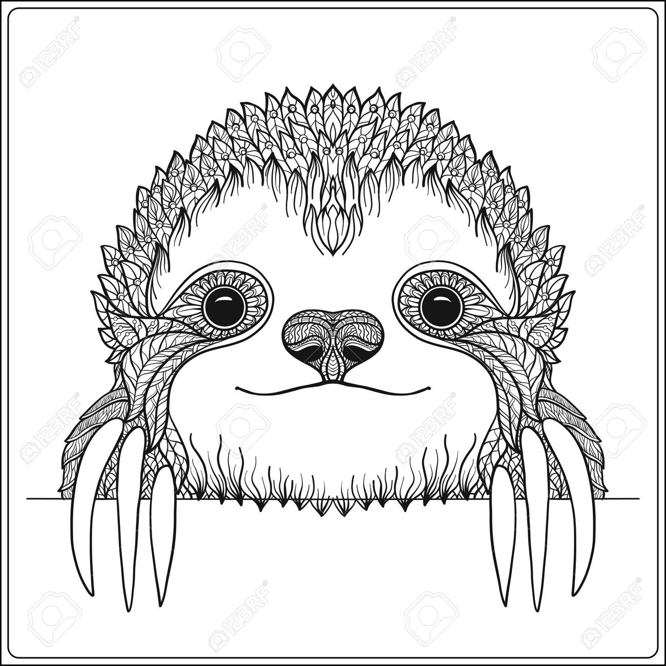 Decorative cute sloch. Outline vector illustration. Coloring book for adult and older children. Outline drawing coloring page. - 60500488