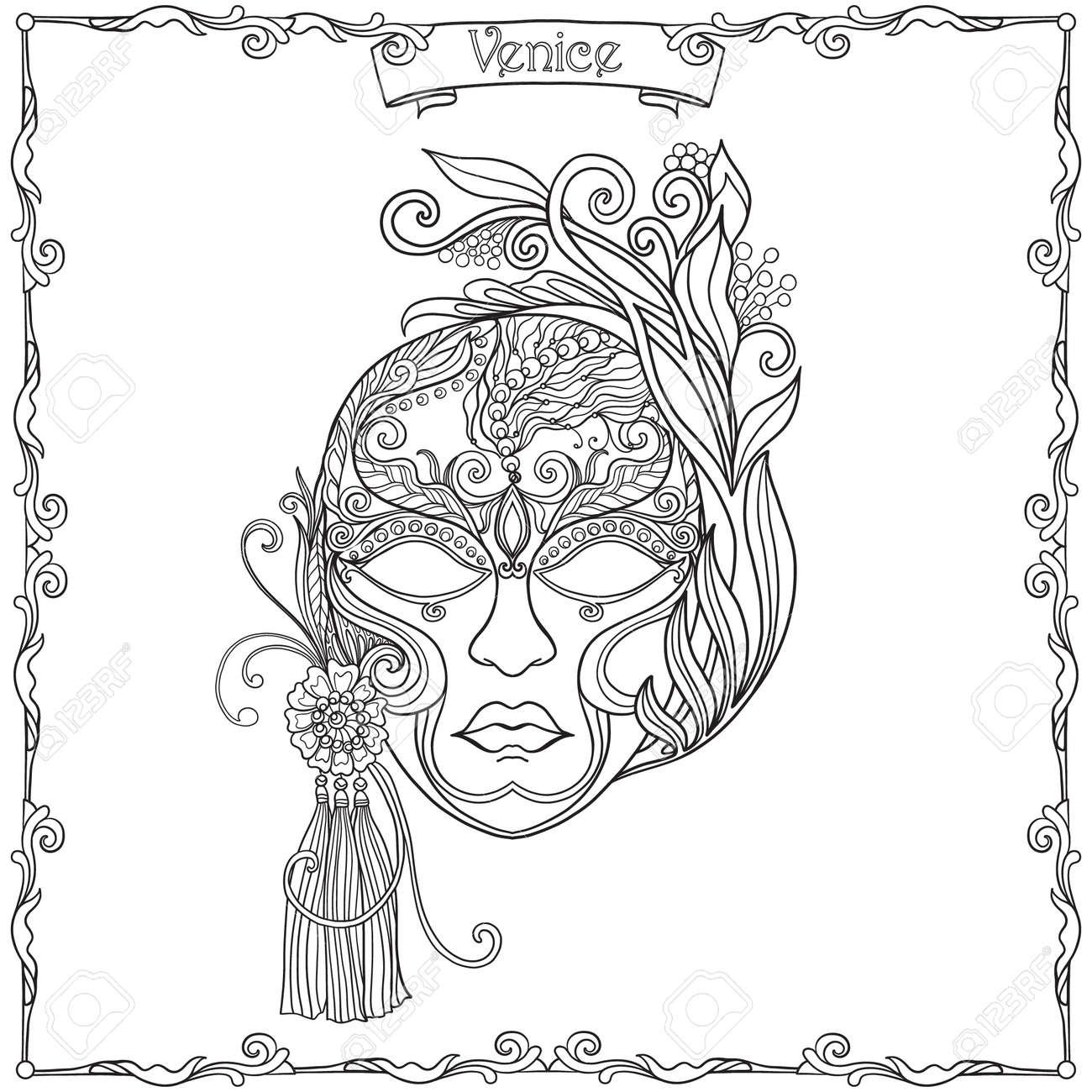 Masque Venitien Costume De Carnaval Tirage Contour De La Main Livre A Colorier Pour Les Adultes Et Les Enfants Plus Ages Coloriage Vector Illustration Clip Art Libres De Droits Vecteurs Et