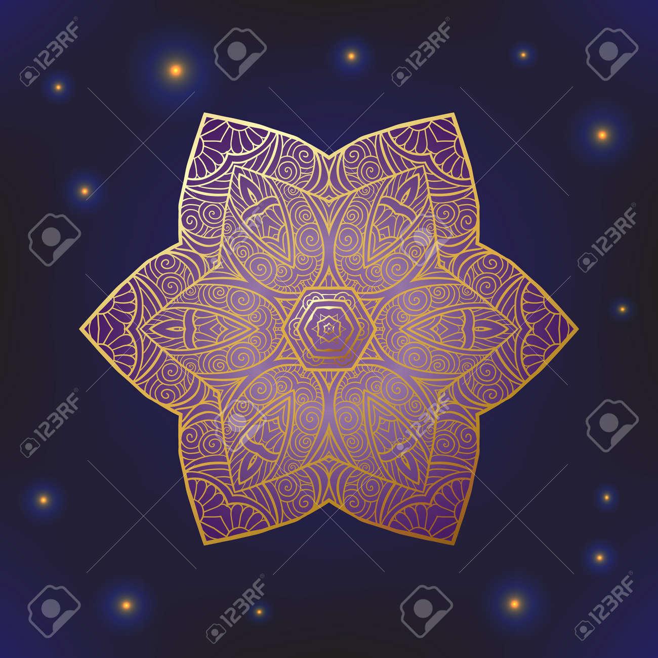 Decorative ornate Indian or Arabian round lace mandala. Snowflake. Vintage vector pattern. Invitation, wedding card, scrapbooking. Christmas card design. Gold over black. Colored vector illustration. - 60503044