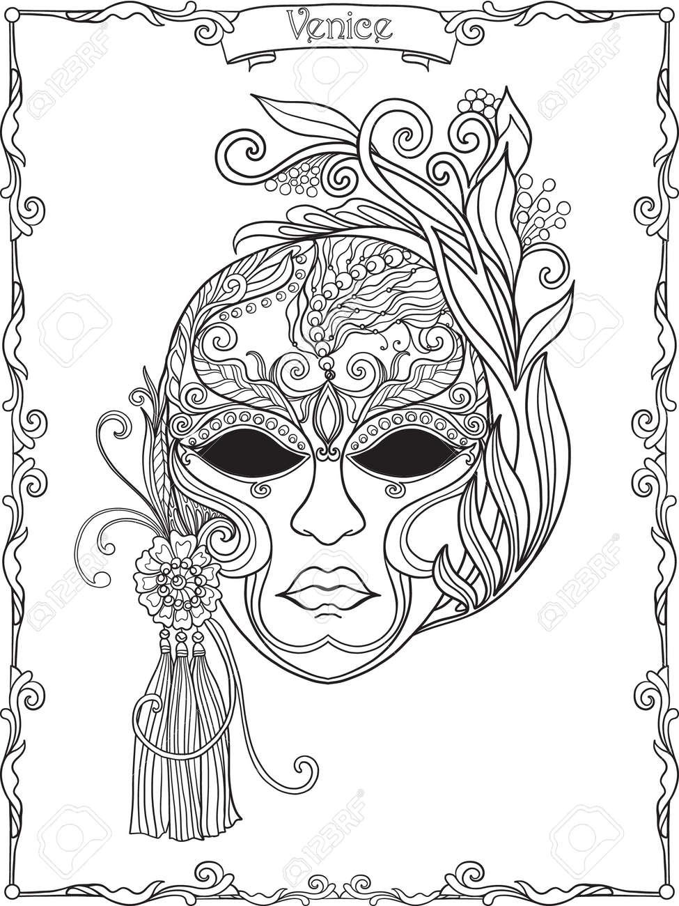 Máscara Veneciana, Traje De Carnaval Esquema Drenaje De La Mano ...