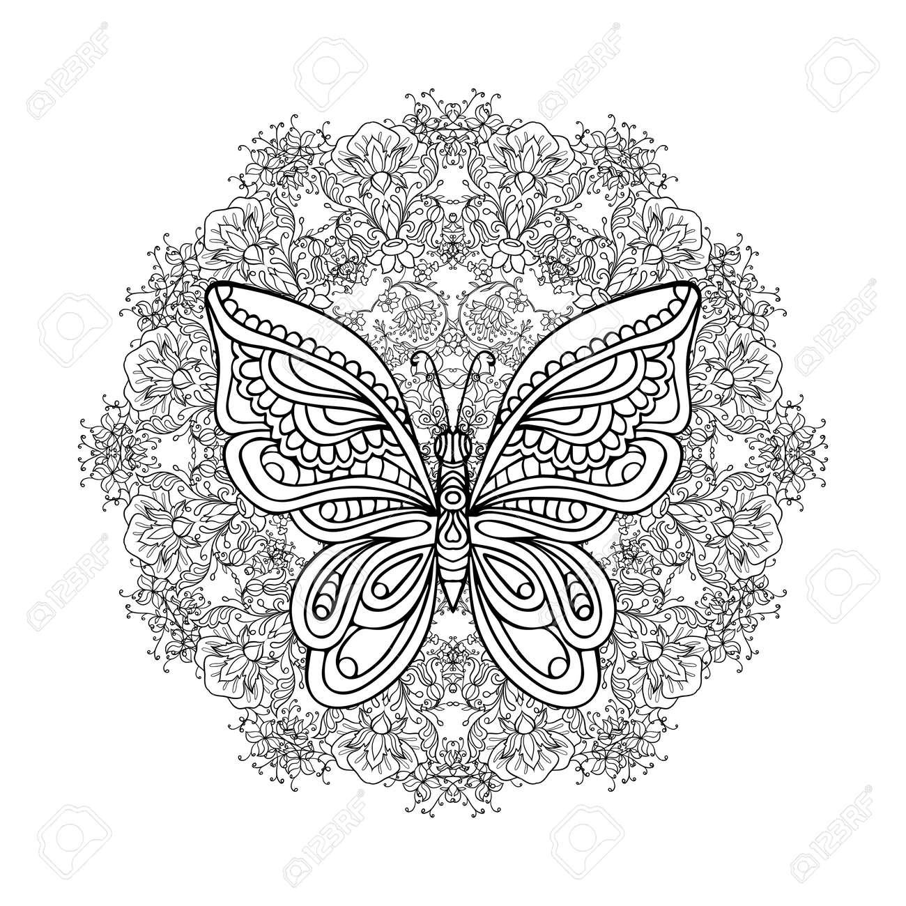 Libro De Colorante Para Los Adultos Y Niños Mayores Dibujo Para Colorear Con La Mandala Hecho De Flores De época Decorativos Y Mariposas Decorativas