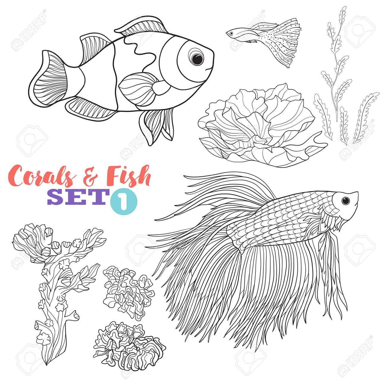 Vettoriale Barriera Corallina E Set Di Pesce Buon Per Libro Da