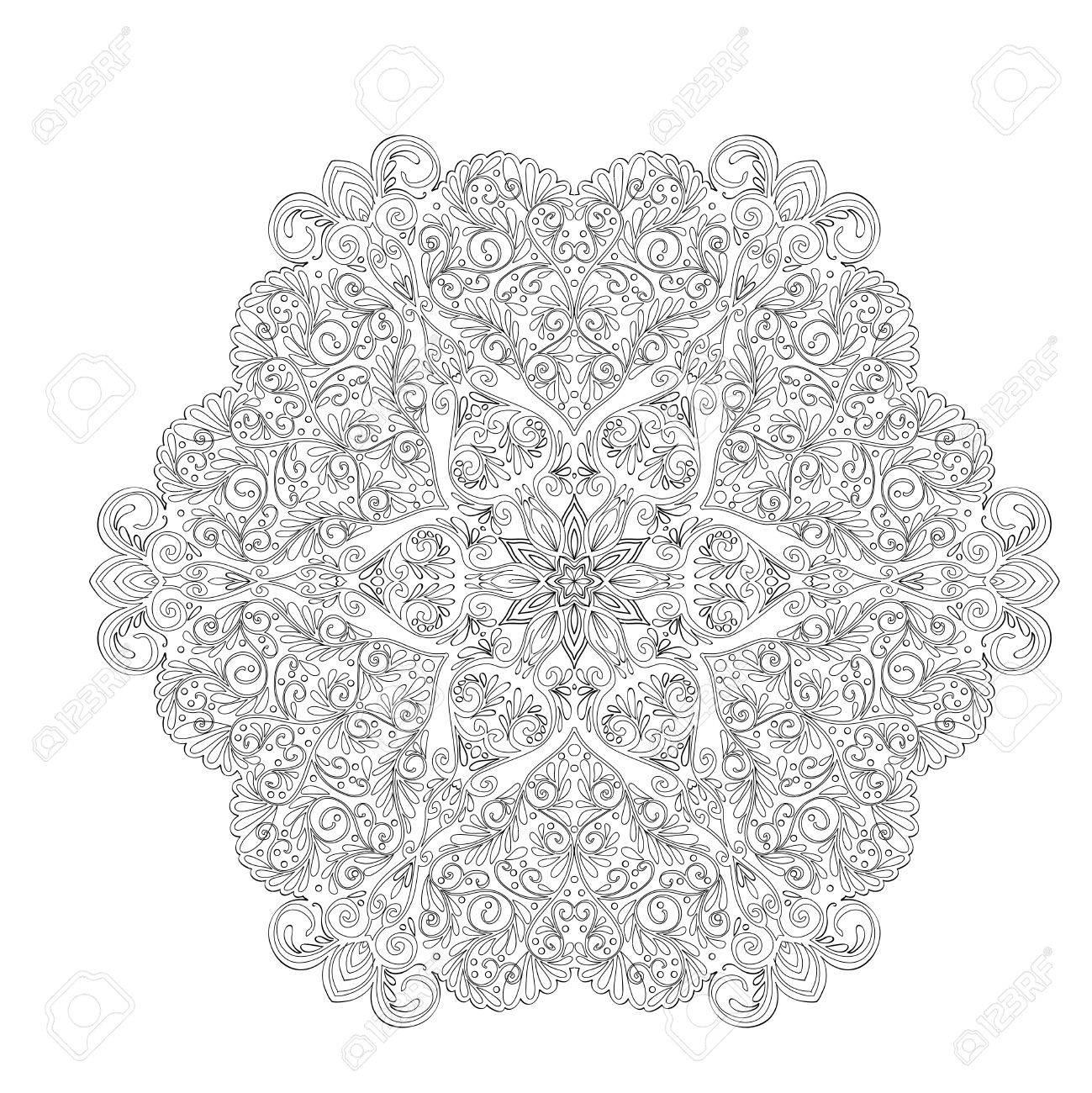 Vettoriale Mandala Decorativo Con Cuori Damore Libro Da Colorare