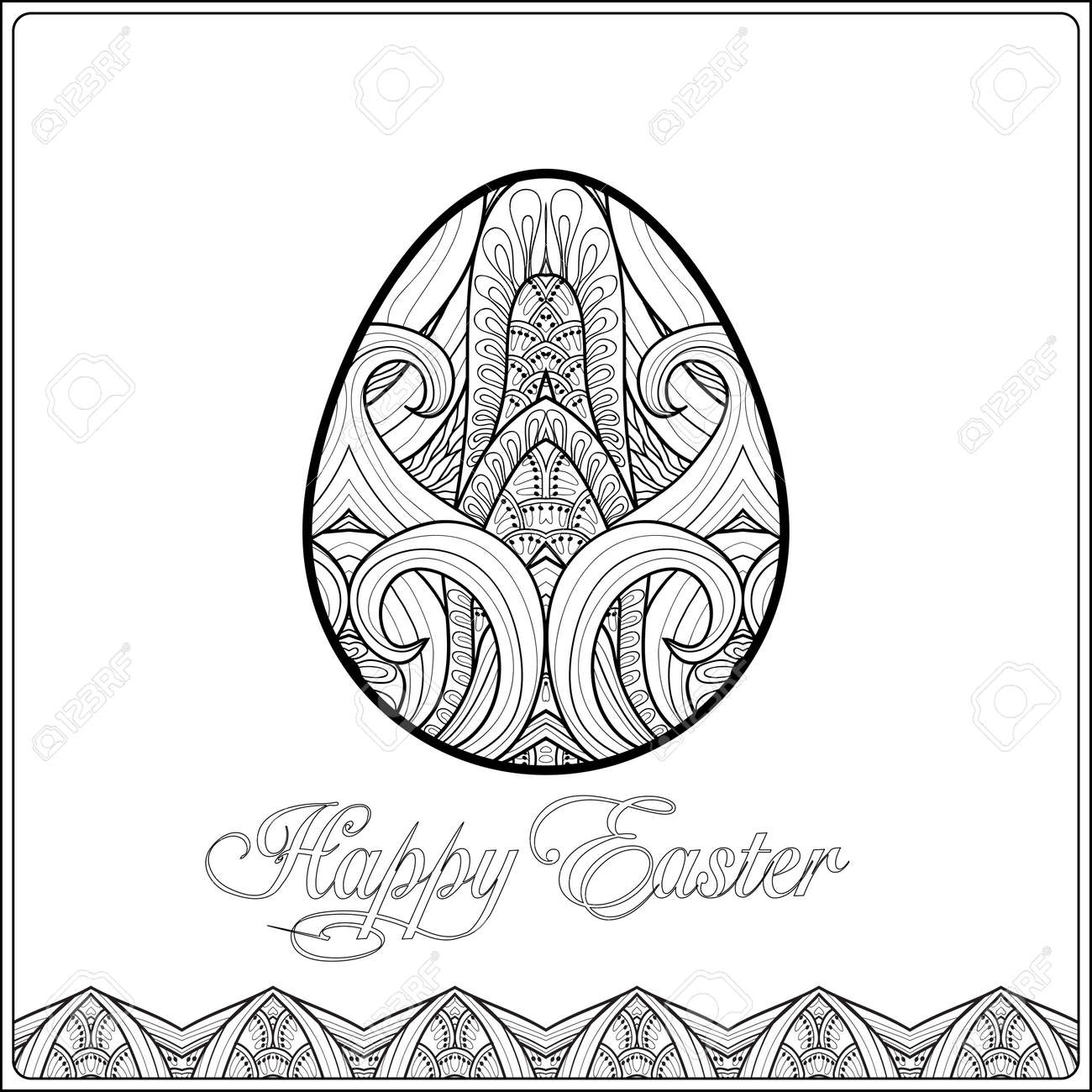 Vettoriale Uovo Di Pasqua Libro Da Colorare Per Adulti E Bambini