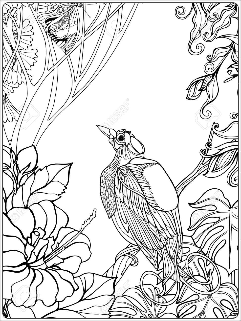 Tropical Wildvögel Und Pflanzen. Tropischer Garten-Sammlung ...
