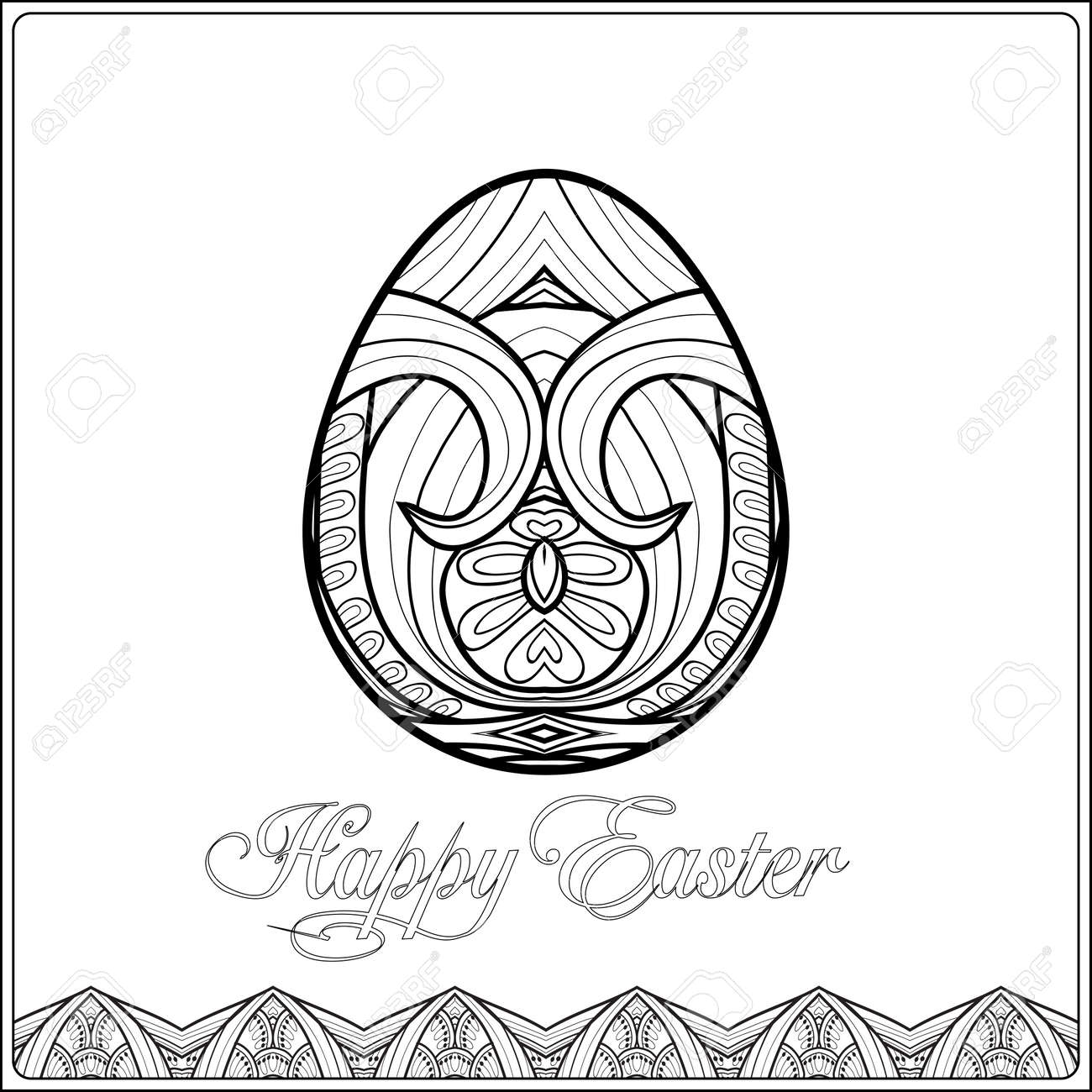 Easter Egg Coloring Book For Adult And Older Children Page Outline Drawing