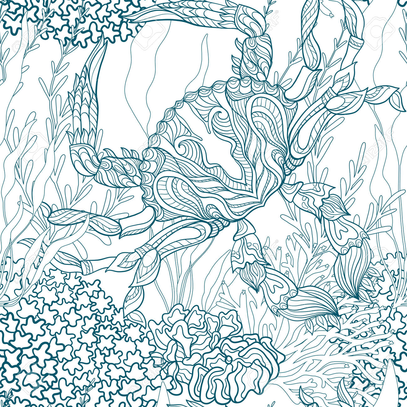 Seamless Pattern With Decorative Corals And Sea Or Aquarium Fish