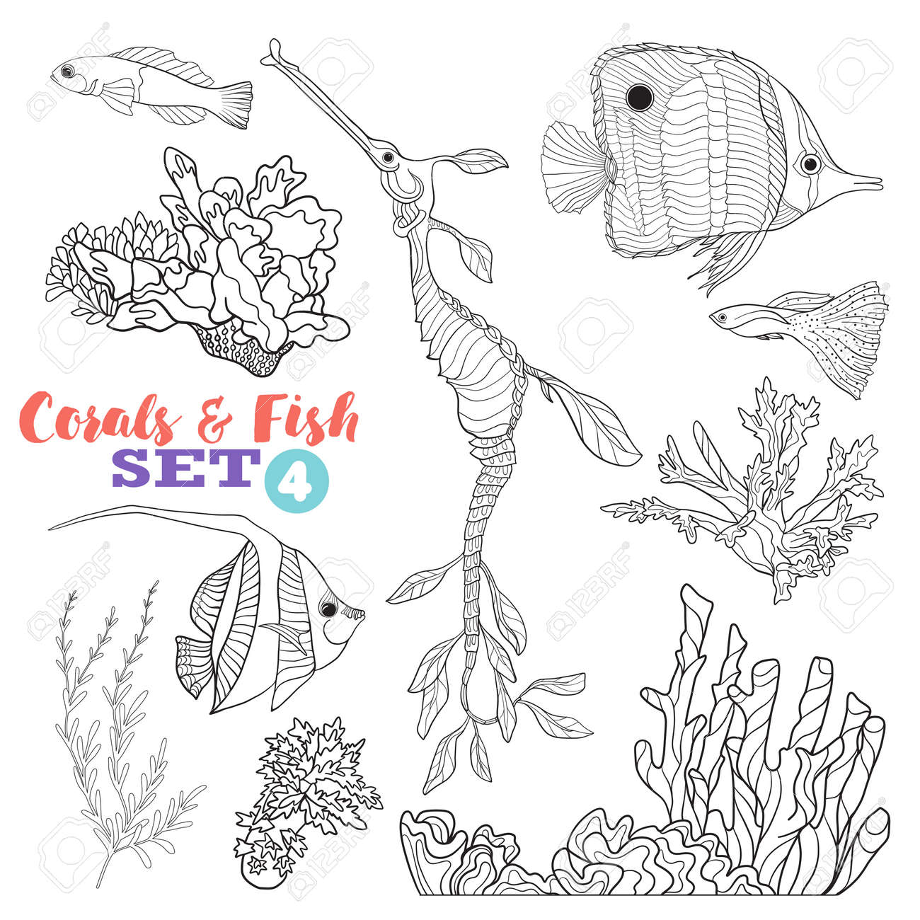 Coral Reef And Fish Set. Good For Coloring Book For Adult And Older  Children.