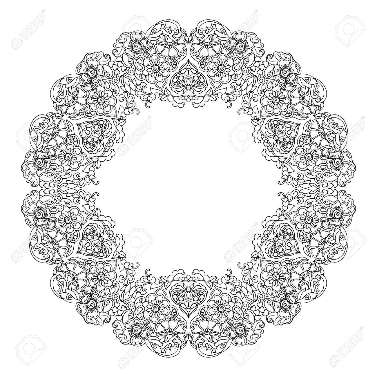 Immagini Stock Mandala Decorativo Con Cuori Di Amore Libro Da
