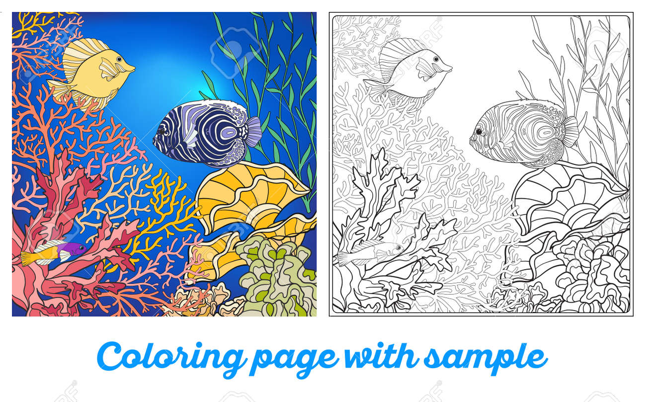 Adult Coloring Book. Coloring Page With Underwater World Coral ...