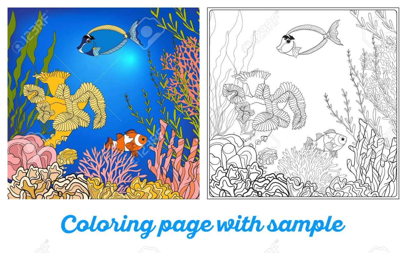 coral reef coloring page contegri com