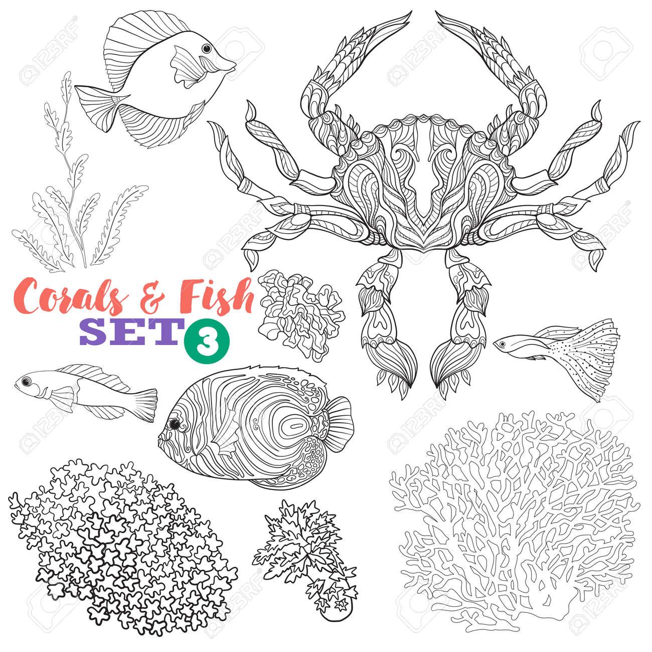 Barriera Corallina E Set Di Pesce Buon Per Libro Da Colorare Per