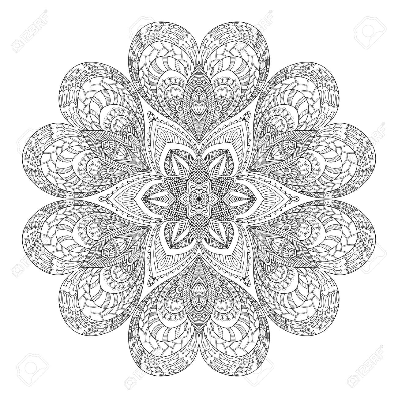 Decorative Mandala With Love Hearts. Coloring Book For Adult ...