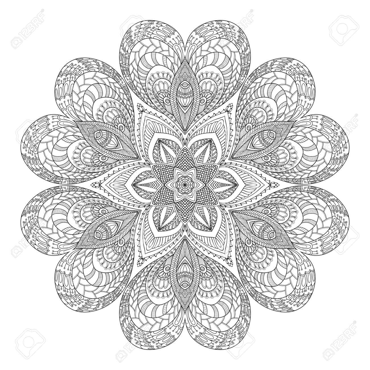 Vettoriale Mandala Decorativo Con Cuori Di Amore Libro Da