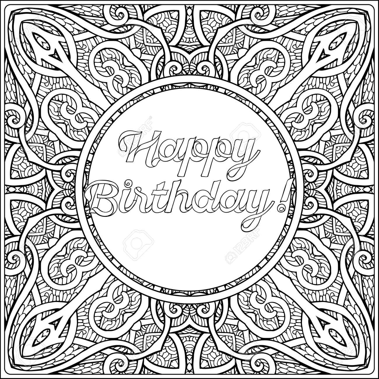 Las Letras Del Feliz Cumpleaños. Página Para Colorear Con El Mensaje ...