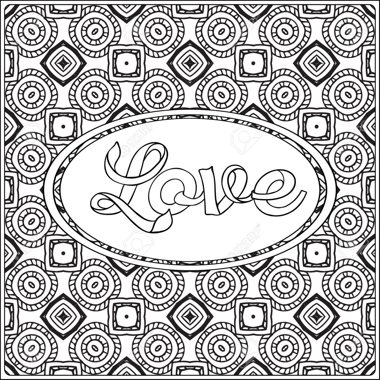 Love Lettering Coloring Page With Message On Vintage Pattern Background Adult Book