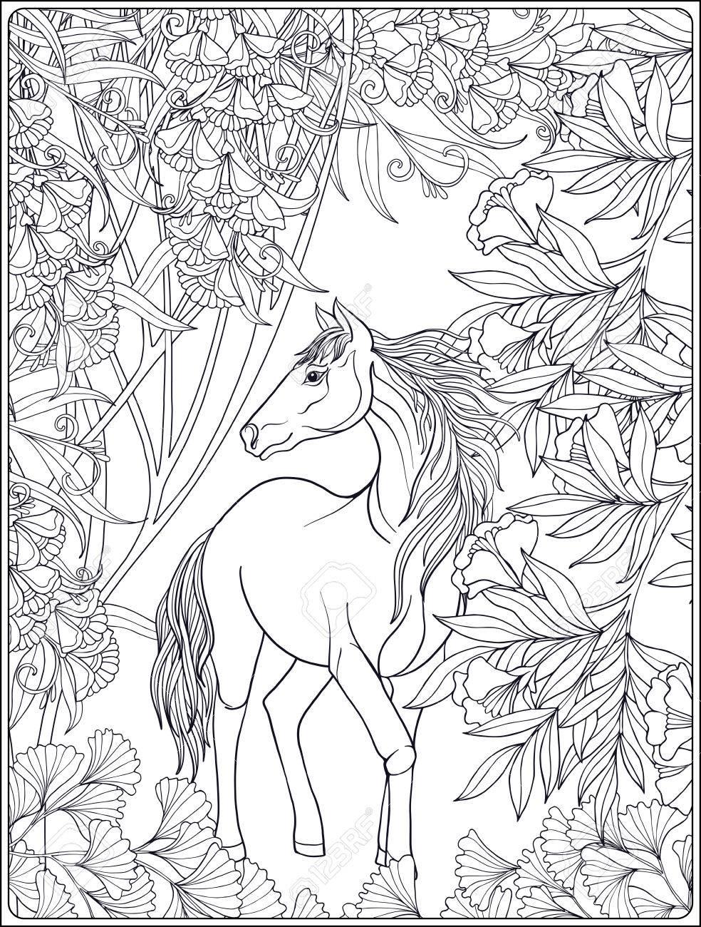 Pferd Im Garten. Vektor-Illustration. Malbuch Für Erwachsene Und ...