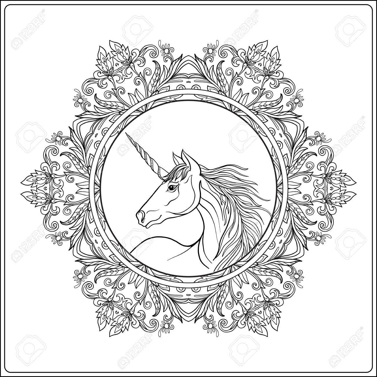 Unicorn In Vintage Decorative Floral Mandala Frame Vector Illustration Coloring Book For Adult And