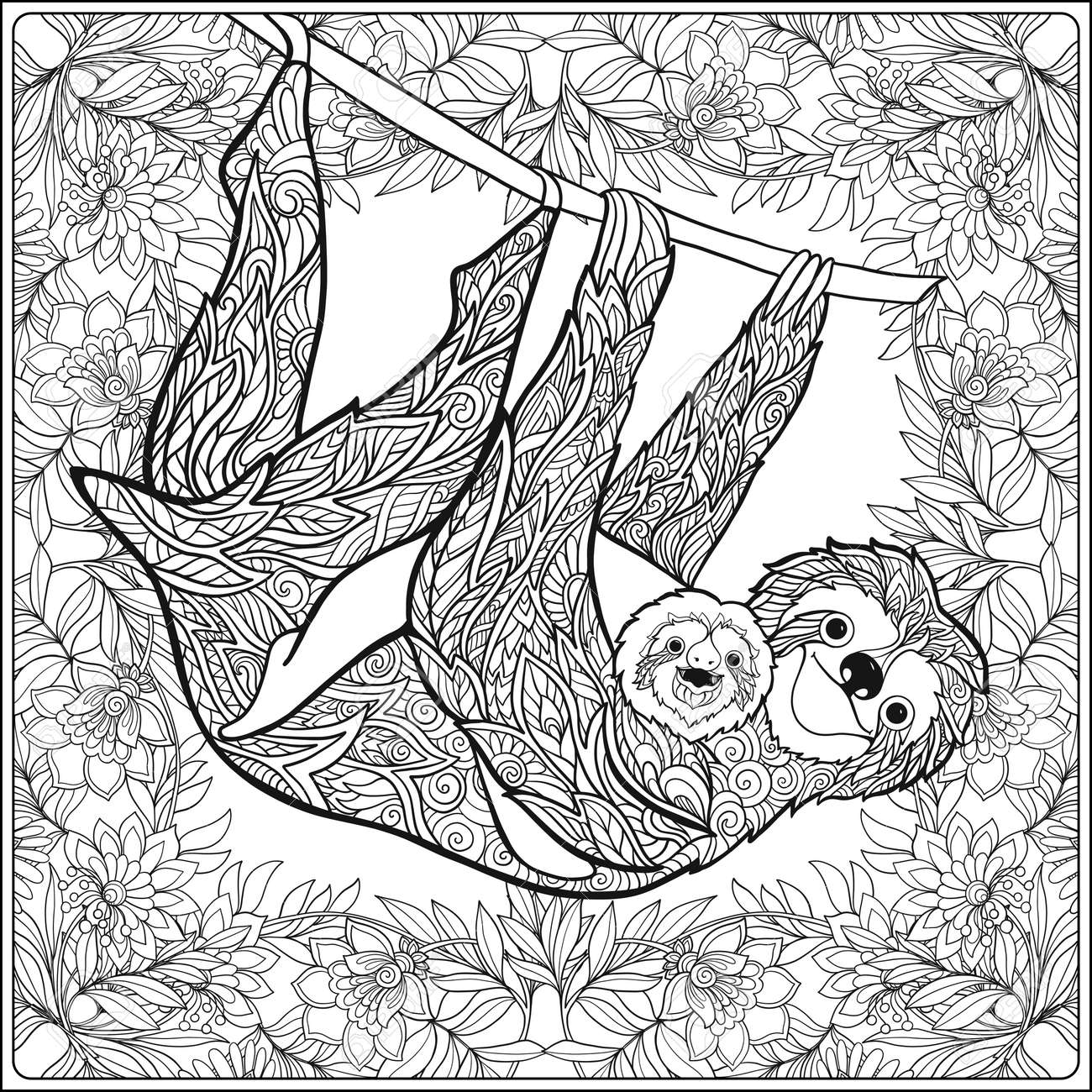 - Coloring Page With Lovely Sloth In Forest. Coloring Book For
