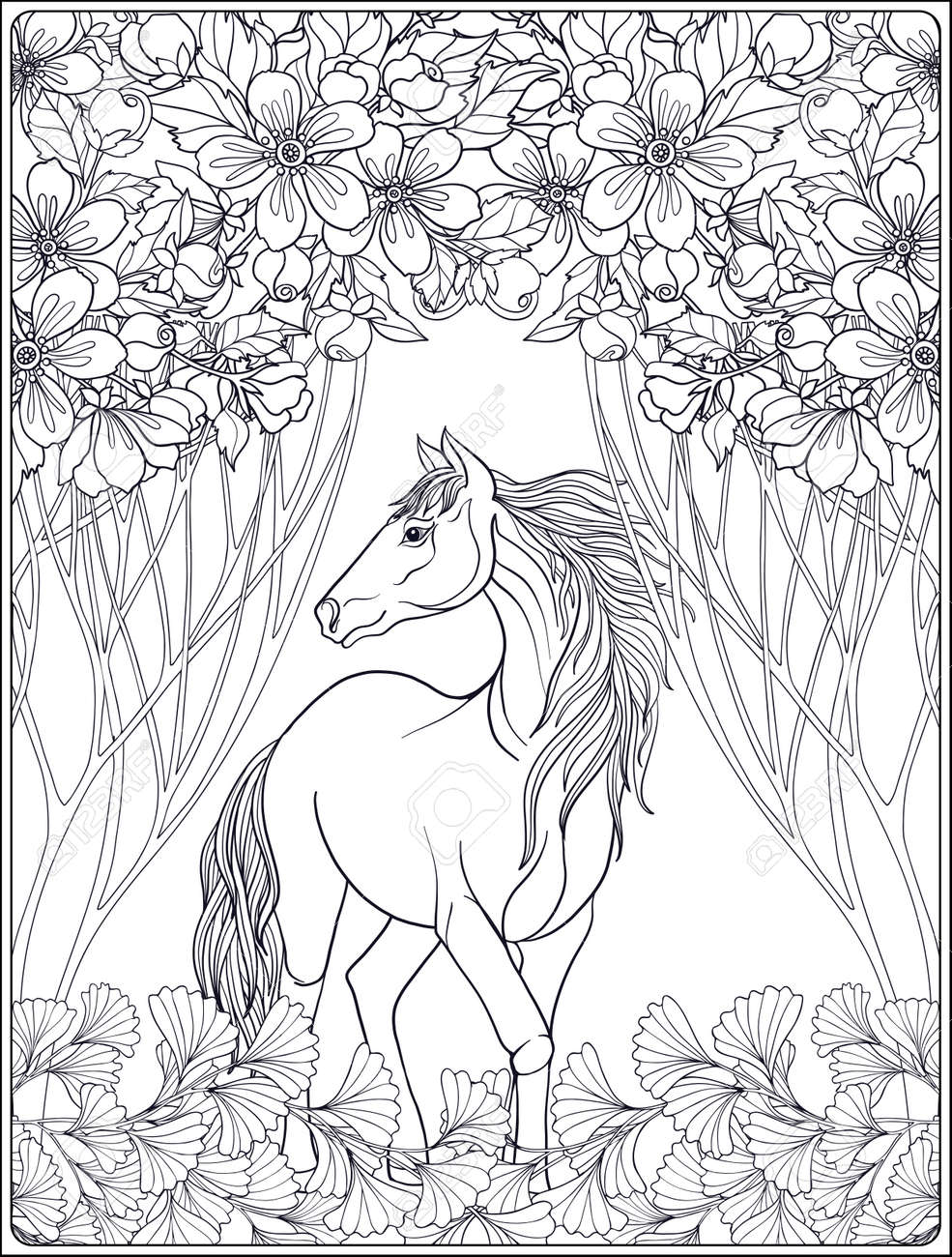 Horse In Garden Vector Illustration Coloring Book For Adult And Older Children Outline