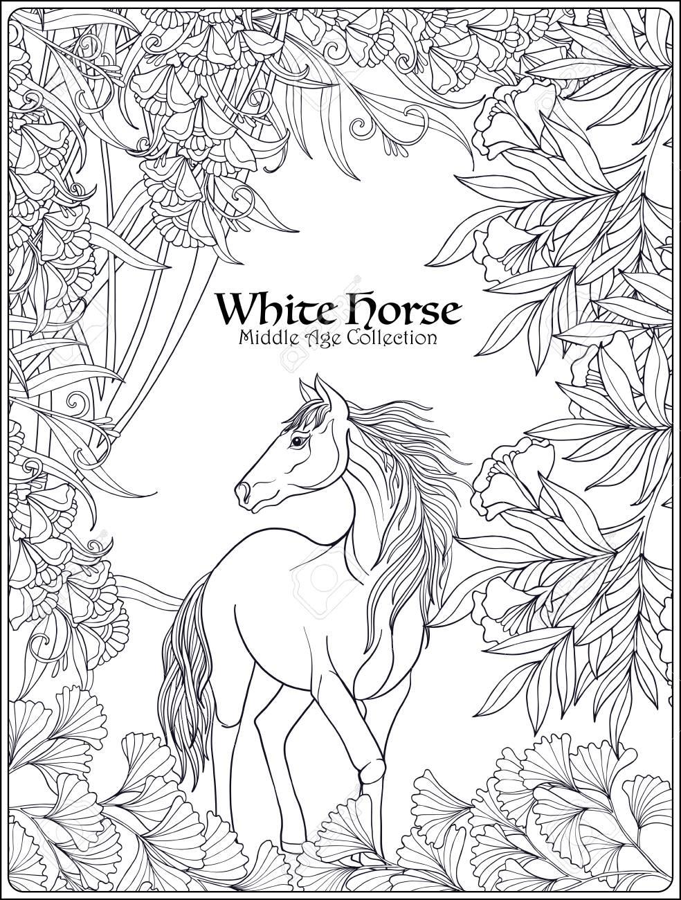 Vettoriale Cavallo In Giardino Illustrazione Vettoriale Libro