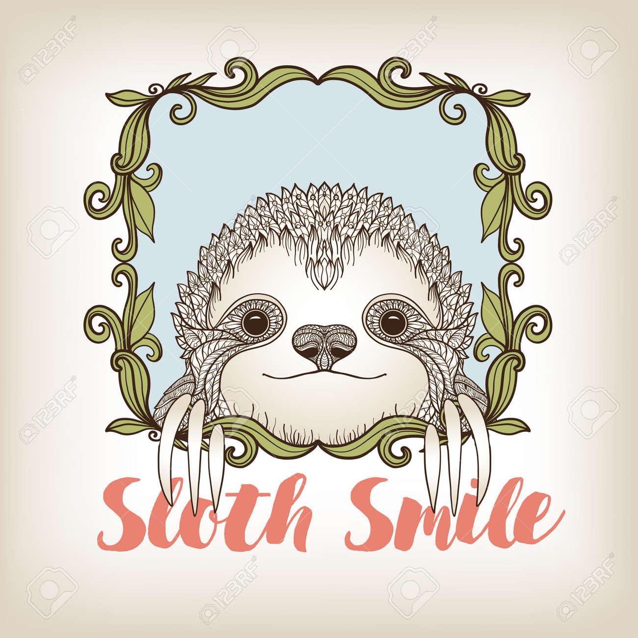 Sloth In Dekorativen Rahmen. Vektor-Illustration. Skizze Für ...