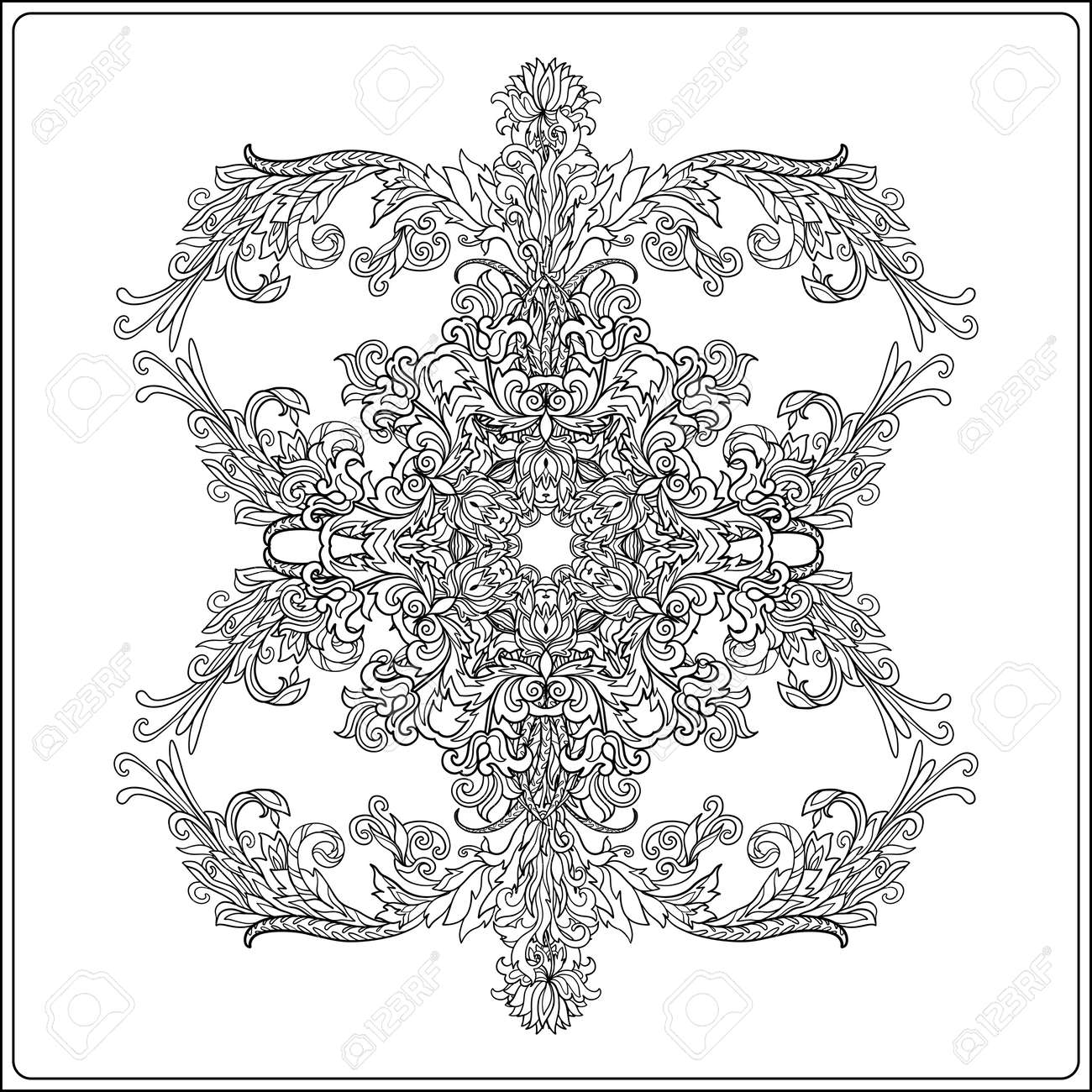 Medieval Floral Royal Pattern. Decorative Symmetry Arabesque ...