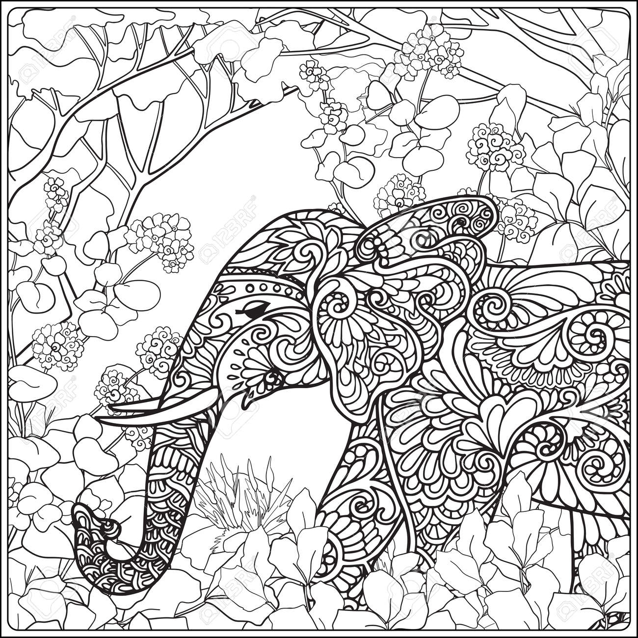 Coloring Page With Elephant In Forest. Coloring Book For Adult ...