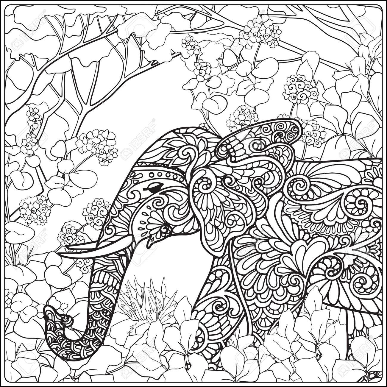 Malvorlage Mit Elefanten Im Wald. Malbuch Für Erwachsene Und ältere ...