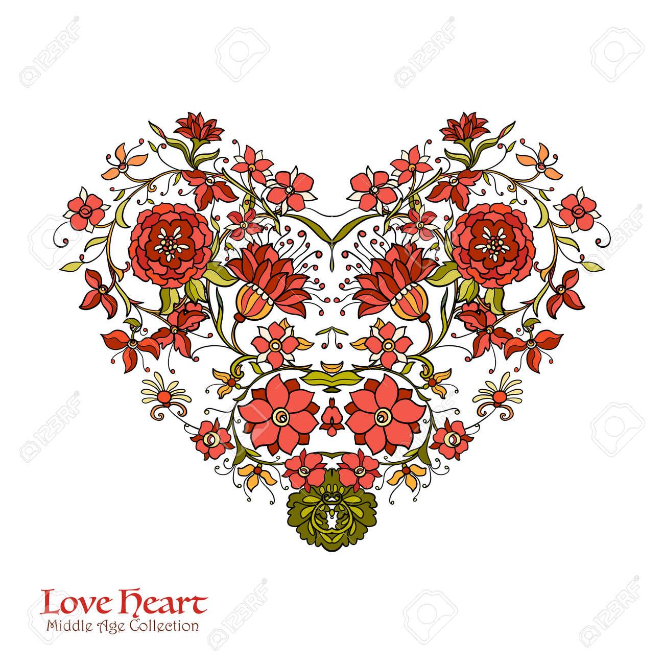Vettoriale   Amore Decorativo Cuore In Stile Rococò, Vittoriano