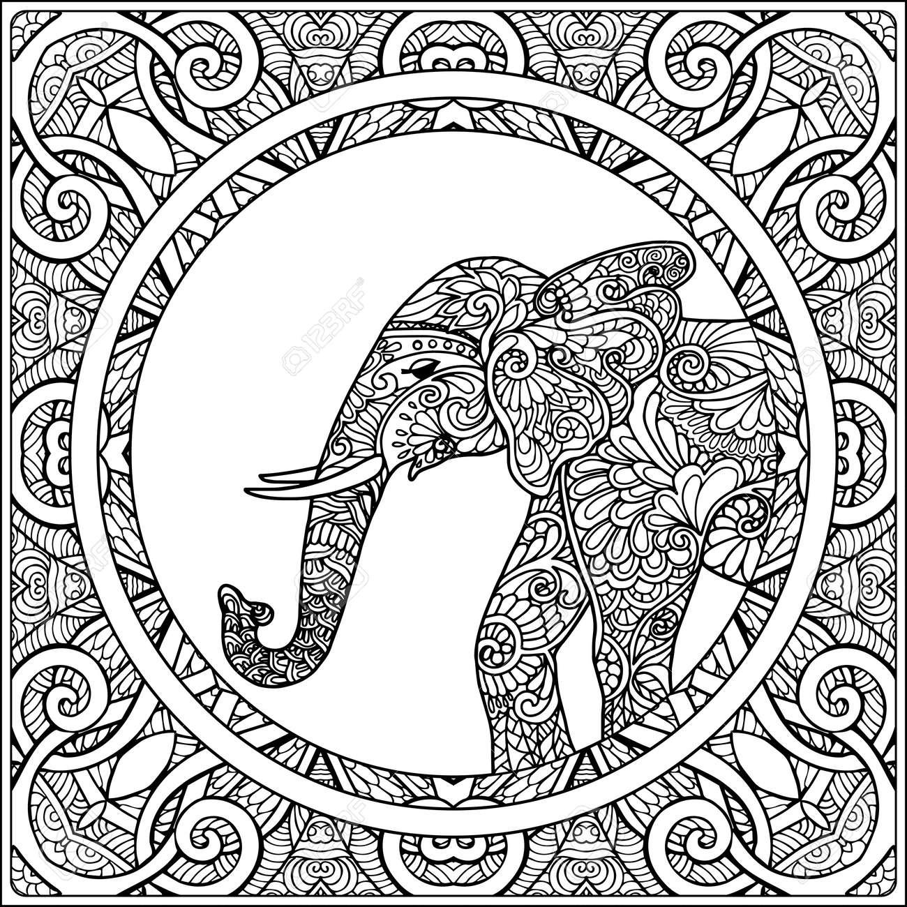 Coloriage Elephant Pour Adulte.Coloriage Avec Des Elephants Dans Le Cadre De Mandala Decoratif