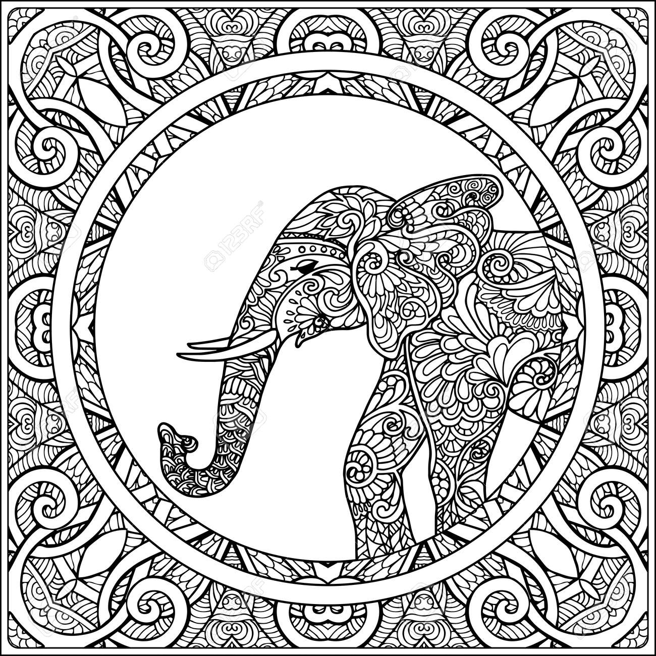 Coloring Page With Elephant In Decorative Mandala Frame. Coloring ...
